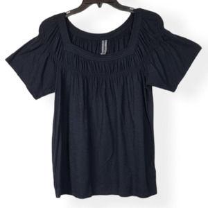 Anthropologie Black Square Neck Short Sleeve Top